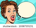 woman says comic bubble. pop... | Shutterstock .eps vector #1038735151