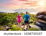 happy couple on the tropical... | Shutterstock . vector #1038735337