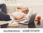 girl having rest after hard... | Shutterstock . vector #1038737695