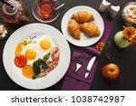 restaurant delicious breakfast... | Shutterstock . vector #1038742987