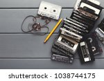 retro audio cassettes and... | Shutterstock . vector #1038744175