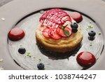 modern restaurant dessert... | Shutterstock . vector #1038744247