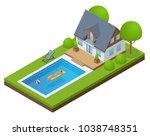 isometric modern villa outdoor... | Shutterstock .eps vector #1038748351