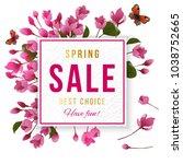 spring sale paper banner over... | Shutterstock .eps vector #1038752665