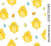 seamless pattern with doodle... | Shutterstock .eps vector #1038753385