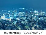 communication network of urban... | Shutterstock . vector #1038753427
