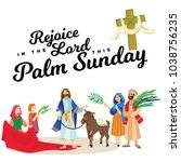 religion holiday palm sunday... | Shutterstock .eps vector #1038756235
