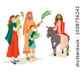 religion holiday palm sunday... | Shutterstock .eps vector #1038756241