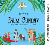 religion holiday palm sunday... | Shutterstock .eps vector #1038756247
