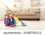 bucket with sponges  chemicals... | Shutterstock . vector #1038759211