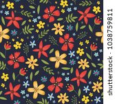 floral seamless pattern with... | Shutterstock .eps vector #1038759811