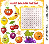 word search puzzle. vector... | Shutterstock .eps vector #1038760804