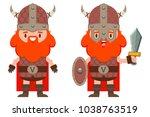 cute viking with a beard in a... | Shutterstock .eps vector #1038763519