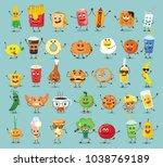 funny best friends food... | Shutterstock .eps vector #1038769189