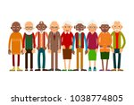 group older people. aged people ... | Shutterstock . vector #1038774805