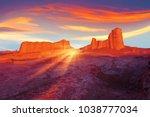 sunset in the desert of iran....   Shutterstock . vector #1038777034