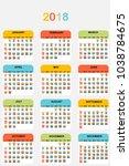 2018 colored calendar | Shutterstock . vector #1038784675