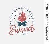 summer camp hand written...   Shutterstock .eps vector #1038785839