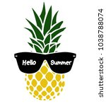 pineapple with glasses   vector ... | Shutterstock .eps vector #1038788074