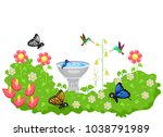illustration of a garden full... | Shutterstock .eps vector #1038791989
