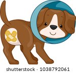 illustration of a dog wearing a ... | Shutterstock .eps vector #1038792061