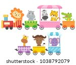 Stock vector illustration of zoo animals riding a colorful train from lion rhinoceros zebra cheetah 1038792079
