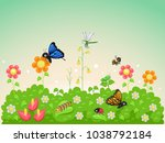 illustration of garden insects... | Shutterstock .eps vector #1038792184