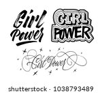 girl power lettering set. hand... | Shutterstock .eps vector #1038793489