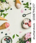 flat lay of pink strawberry and ... | Shutterstock . vector #1038794257