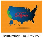 Usa Map And California My With...