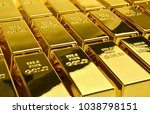 stack of gold bars. financial... | Shutterstock . vector #1038798151