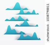 3d vector paper cut blue water... | Shutterstock .eps vector #1038798811