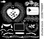 set of vector black and white... | Shutterstock .eps vector #1038798889