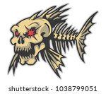 fish bone mascot for logo and t ... | Shutterstock .eps vector #1038799051