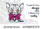 cat with motivational quotes in ... | Shutterstock .eps vector #1038805255