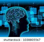 neural network. deep learning.... | Shutterstock .eps vector #1038805567