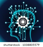 neural network. deep learning.... | Shutterstock .eps vector #1038805579