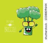 vector funny cartoon cute green ... | Shutterstock .eps vector #1038809644