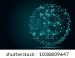 abstract mash line and point...   Shutterstock . vector #1038809647