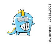 vector funny cartoon cute blue... | Shutterstock .eps vector #1038810025