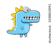 vector funny cartoon cute blue... | Shutterstock .eps vector #1038810091