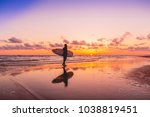 silhouette and reflection of... | Shutterstock . vector #1038819451