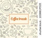coffee break line icons... | Shutterstock .eps vector #1038819535