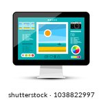web gallery on screen. photo... | Shutterstock .eps vector #1038822997