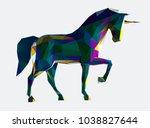 low poly vector unicorn... | Shutterstock .eps vector #1038827644