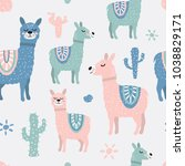 childish seamless pattern with... | Shutterstock . vector #1038829171