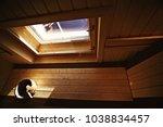 sauna  wooden interior baths ... | Shutterstock . vector #1038834457