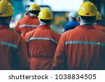 workers  helmets at the factory ... | Shutterstock . vector #1038834505