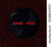 dark web text with earth by...   Shutterstock . vector #1038834907