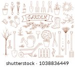 spring garden and hand drawn... | Shutterstock .eps vector #1038836449